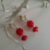 Dainty Red Coral Stud Sterling Silver Earrings