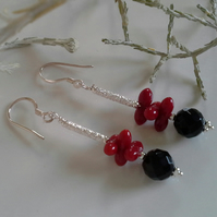 Coral & Black Onyx Sterling Silver earrings