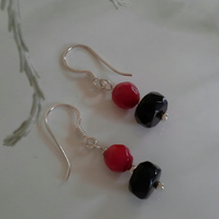 Dainty Coral & Black Onyx Sterling Silver Earrings