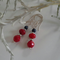 Red Coral & Lapis Lazuli Sterling Silver Drop Earrings