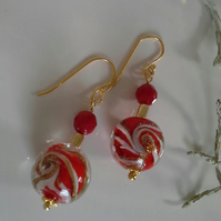 Murano Glass & Red Coral Gold Vermeil Earrings