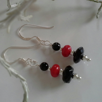 Dainty Feminine Coral & Black Onxy Sterling Silver Earrings
