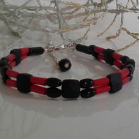 Unique Coral & Black Onyx Sterling silver bracelet