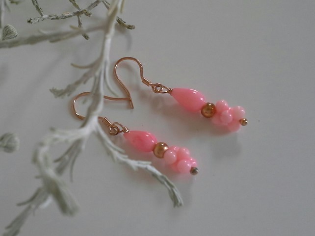 Coral Rose Gold Vermeil Earrings