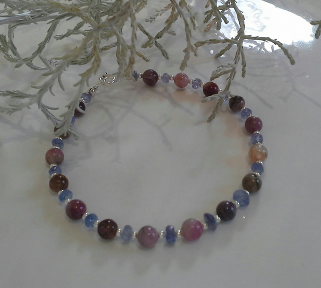 AA Grade Faceted Tanzanite & Tourmaline Sterling Silver Bracelet