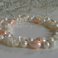 SALE ITEM  Cultured Pearls & Mother of Pearl Sterling Silver Necklace