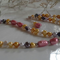 SALE ITEM Genuine Freshwater Multicoloured Pearl Necklace 925 Sterling Silver