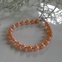 Freshwater Cultured Pearl Peach Sterling Silver Bracelet