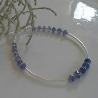 AA Tanzanite Faceted Bead Sterling Silver Bracelet