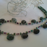 Precious Natural Emerald,  Ruby, Sapphire Sterling Silver Necklace