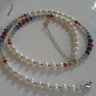 Luxery Designer Ivory Pearls & Multi Faceted Gemstone Sterling Silver Necklace