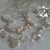 Large kiwi & Keshi Pearl Sterling Silver Necklace