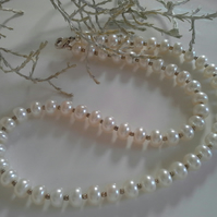 Genuine Large Freshwater Button Pearl Sterling Silver Necklace