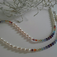 Freshwater Pearl & Multi Gemstone Sterling Silver Necklace & Bracelet Set
