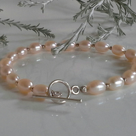 Cream Freshwater Cultured Pearl Sterling Silver Bracelet