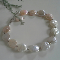 Baroque Coin Freshwater Culture Pearl Sterling Silver Bracelet