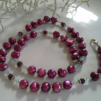 Ruby, Apatite & Freshwater Bargue Pearls Sterling Silver  Necklace