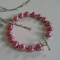 Large Deep Pink Borgue Freshwater Pearl Sterling Silver Braceletx