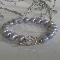 Silver Grey Large Borgue Freshwater Pearl Sterling Silver Bracelet