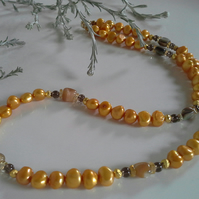 Freshwater Pearl, Citrine, Abolone Shell Gold Vermeil Necklace