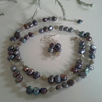 Freshwater Peacock Culture Pearls, Grey  Moonstone Sterling Silver Necklace Set