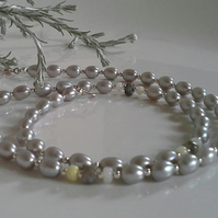 Grey Freshwater Pearl,  Labradorite,  Wello Opal Necklace Sterling Silver