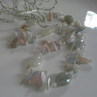 Luxery Statement Aquamarine, Morganite & Multi Beryl Sterling Silver Necklace