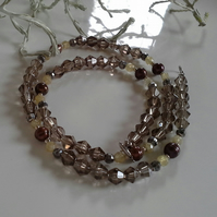 Smokey Quartz, Freshwater Pearl,  Rutile Quartz Sterling Silver Necklace