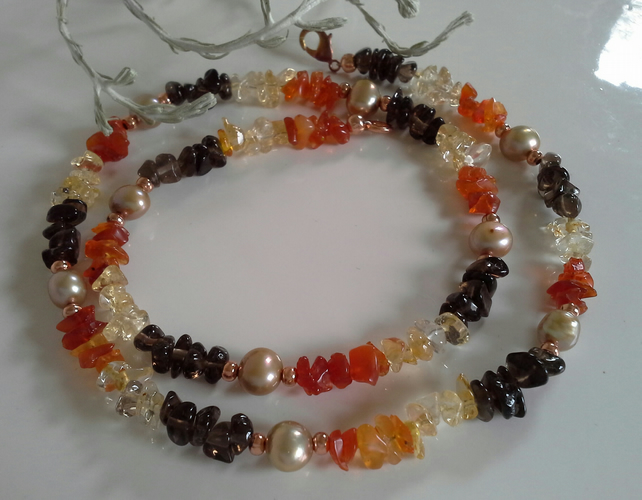 Mexican  Fire Opal, Smokey Quartz,Citrine, &  Pearl  Necklace