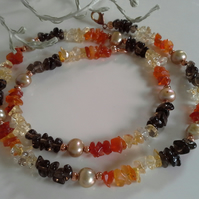 Genuine Mexican  Fire Opal, Smokey Quartz,Citrine, & Freshwater Pearl  Necklace