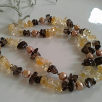 Citrine,  Smokey Quartz & Freshwater Pearl 925 Sterling  Silver Necklace