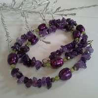 Quality Fresh Water Pearls with Amethyst & Peridot  Sterling Silver  Necklace