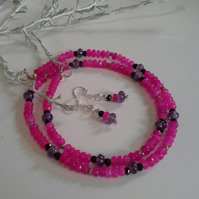 Pink Quartzite, Amethyst & Black Spinel Sterling Silver Necklace Set