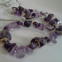 SALE ITEM Natural Chunky Amethyst & Citrine Sterling Silver Necklace