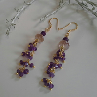 Gold Vermeil  Amethyst and Genuine Rare Amatrine earings