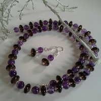 AA Grade Smokey Quartz & Amethyst Sterling Silver Necklace & Earrings