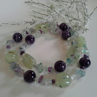 Amethyst,  Prehnite & Florite  Statement Sterling Silver Necklace