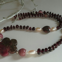 Red Garnet,  Rare Ryodonite & Freshwater Culture Pearl Sterling Silver Necklace