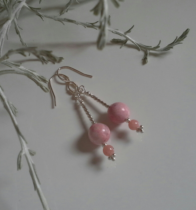 Rare Genuine Rhodonite Sterling Silver Earrings