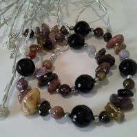 Genuine Tourmaline & Black Onyx Necklace Silver Plated