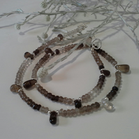 Smokey Quartz Silver Plate Necklace