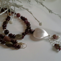 Tourmaline,  Indian Red Garnet neckkace with Large Silver Plate Heart