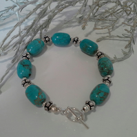 Chunky Turquoise (Recon;) Silver Plated  Bracelet