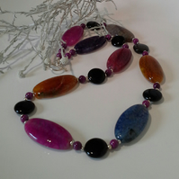 Agate, Jasper, Statement  Necklace Silver Plated
