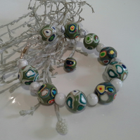 Howelite & Hand Made Polymer Clay Silver Plated Bracelet