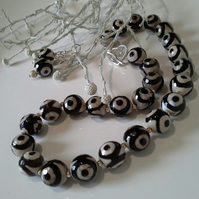 Black & Cream Agate Necklace & Earrings  Silver Plated