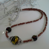 Glass Decorative Bead & Seed Bead Necklace Silver Plated