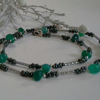 Green Onyx & Peanut Seed Bead Silver Plate Necklace