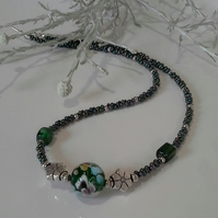 Hand Blown Murano Glass & Seed Bead Necklace Silver Plated