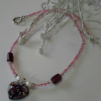 Murano Glass Heartand, Shell Pearls & Seed Bead Necklace Silver Plated
